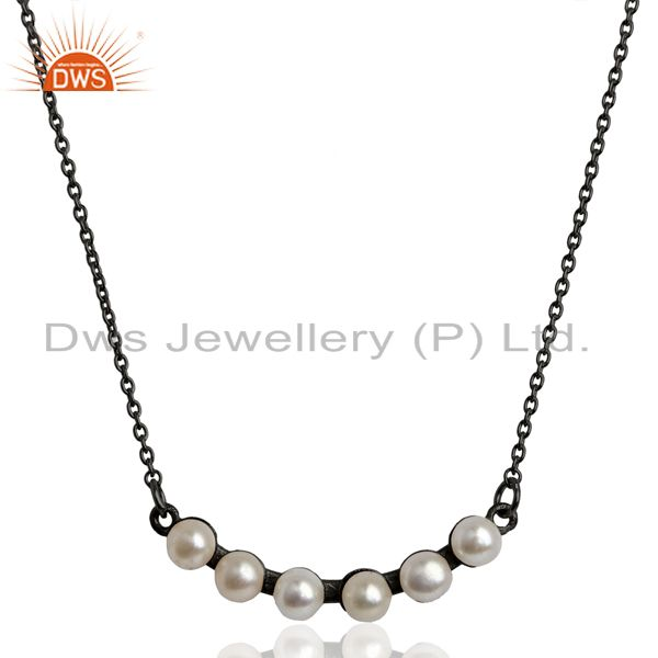 Pearl Black Oxidized 925 Sterling Silver Chain Necklace Gemstone Jewelry