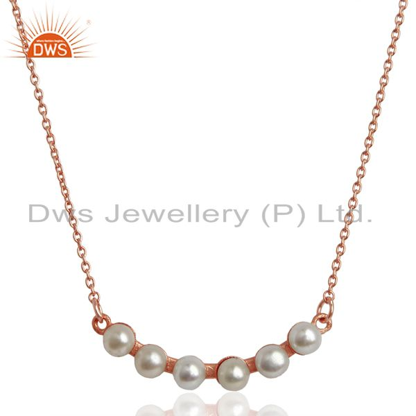 Pearl 18K Rose Gold Plated 925 Sterling Silver Chain Necklace Jewelry