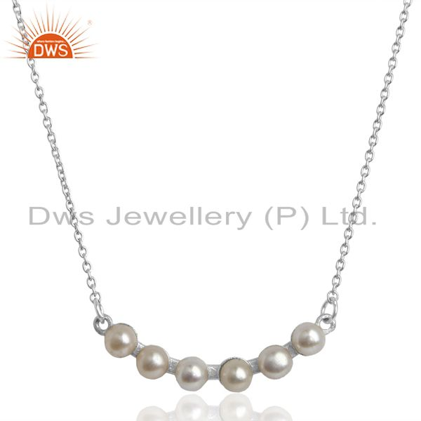 Pearl 925 Sterling Silver Chain Necklace Gemstone Jewelry