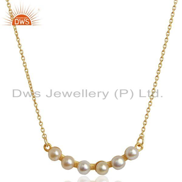 Pearl 18K Yellow Gold Plated 925 Sterling Silver Chain Necklace Jewelry