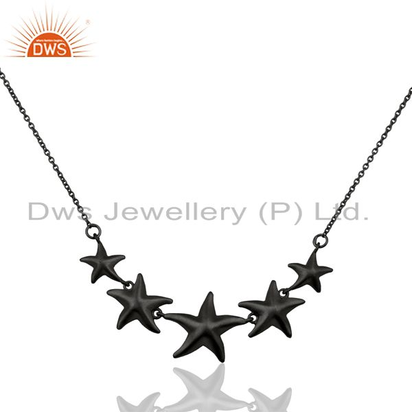 Handmade Star Design Black Oxidized 925 Sterling Silver Chain Necklace Jewelry