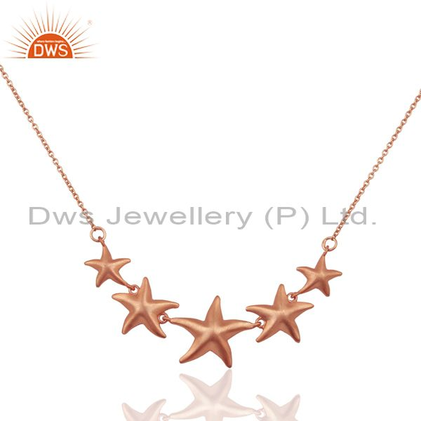 Handmade Star Design 18K Rose Gold Plated Sterling Silver Chain Necklace Jewelry
