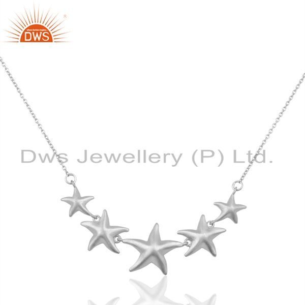 Handmade Starfish 5 Motif  925 Sterling Silver Silver Plated  Statement Necklace