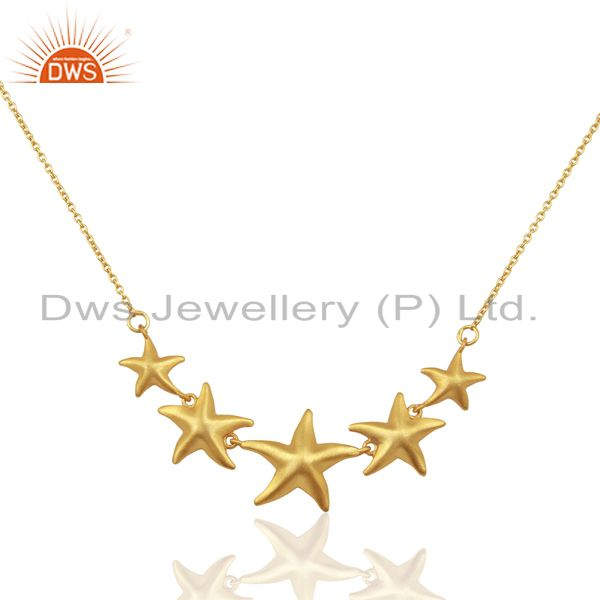 Handmade Star Design 18K Gold Plated 925 Sterling Silver Chain Necklace Jewelry