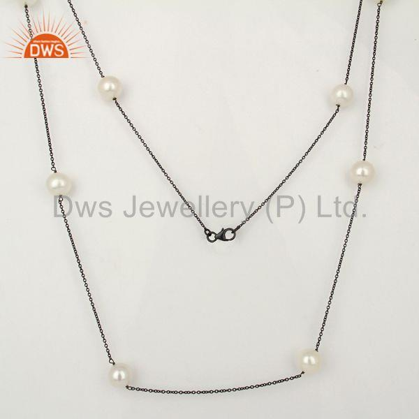 Natural Pearl Gemstone 925 Silver Black Rhodium Plated Chain Necklace