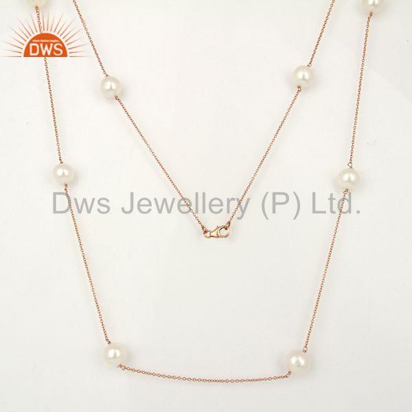 Handmade Rose Gold Plated Silver Natural Pearl Gemstone Necklace