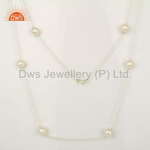 Wholesale Sterling Fine Silver Natural Pearl Gemstone Necklace Jewelry