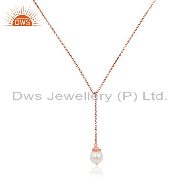Rose Gold Plated Sterling Silver Natural Pearl 24inch Chain Necklace Pendant