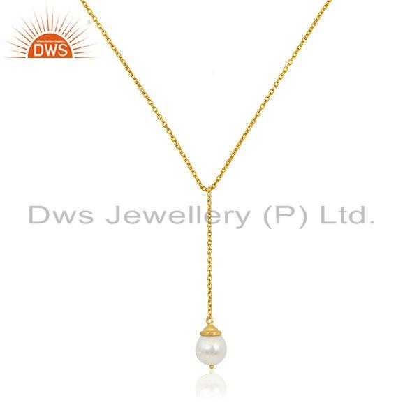 Natural Pearl 925 Sterling Silver Gold Plated Chain Pendant Neklace Manufacturer