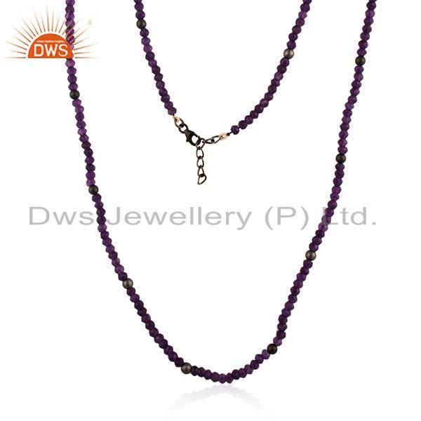Amethyst gemstone fine sterling silver beaded necklace manufacturer india