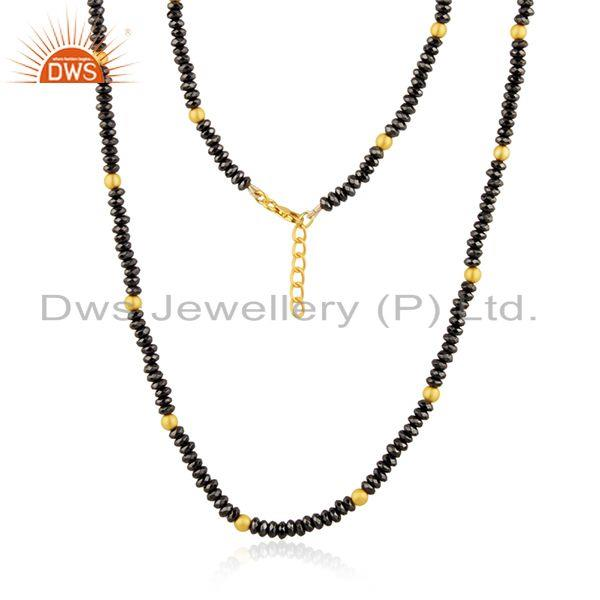 Yellow Gold Plated 925 Silver Hematite Gemstone Beaded Necklace Manufacturer