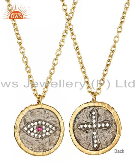 18k yellow gold plated sterling silver cz evil eye and cross pendant with chain