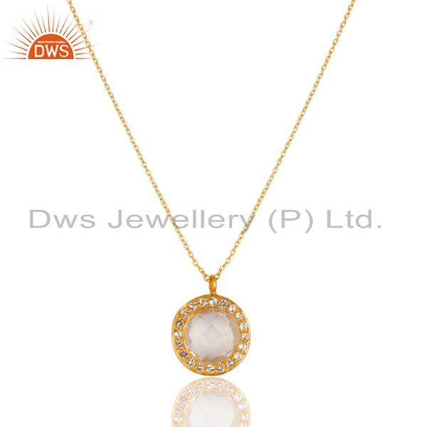 14k yellow gold plated 925 silver crystal quartz & white topaz chain pendant