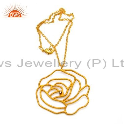 24k yellow gold plated brass cubic zirconia designer pendant with chain