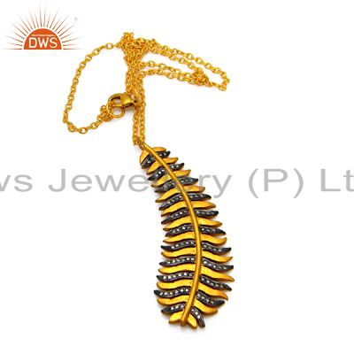 24K Yellow Gold Plated Brass Cubic Zirconia Leaf Designer Pendant With Chain