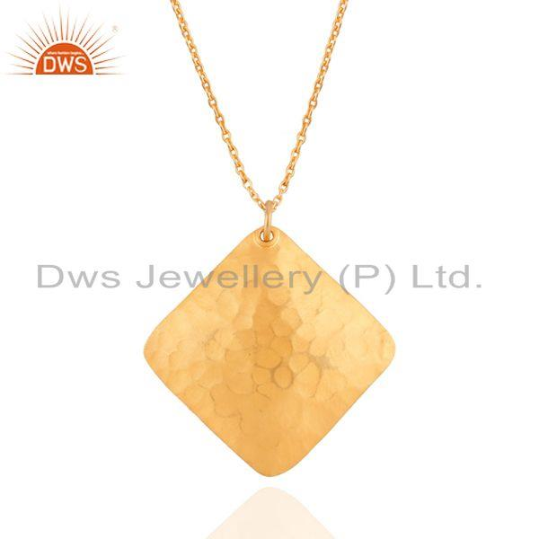 Handmade Solid Sterling SIlver Textured Pendant - 22K Yellow Gold Plated