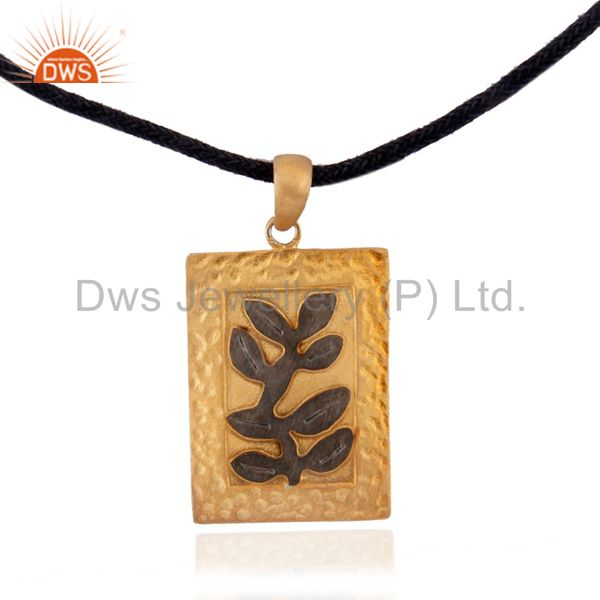 Handmade Tree Design 18k Gold Over 925 Sterling Silver Pendant With Leather Cord