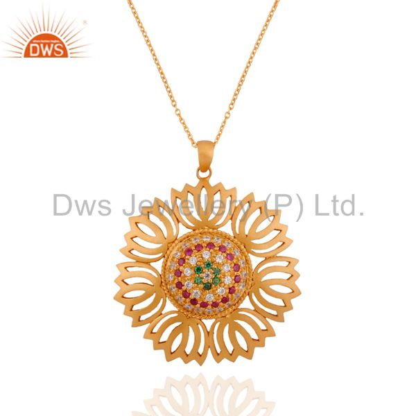 "Lotus Flower 24k Gold Plated Sterling SIlver Zircon Pendant 17"" Inch Chain Neck"