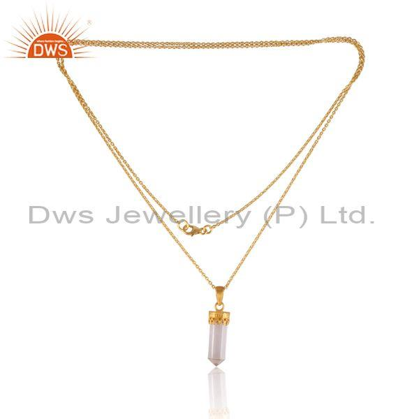 Crystal quartz pendant and gold on 925 sterling silver chain