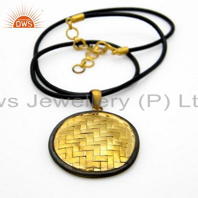 18K Yellow Gold Plated Sterling Silver Wire Woven Circle Pendant With Necklace