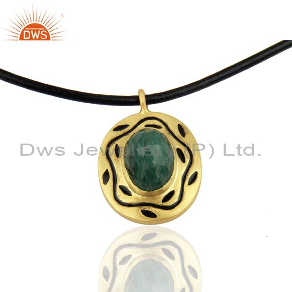 18K Yellow Gold Plated Sterling Silver Emerald Pendant With Black Cord Necklace