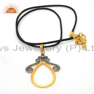 18k yellow gold plated sterling silver designer pendant with black cord necklace