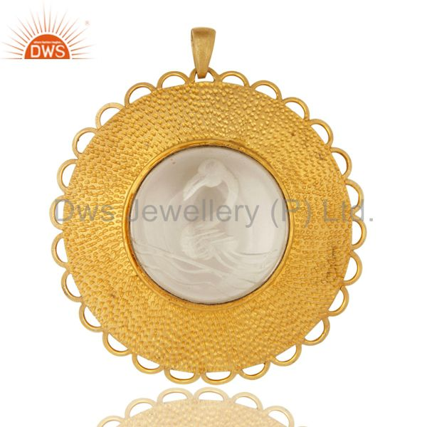 18K Yellow Gold Plated Sterling Silver Crystal Quartz Hammered Pendant