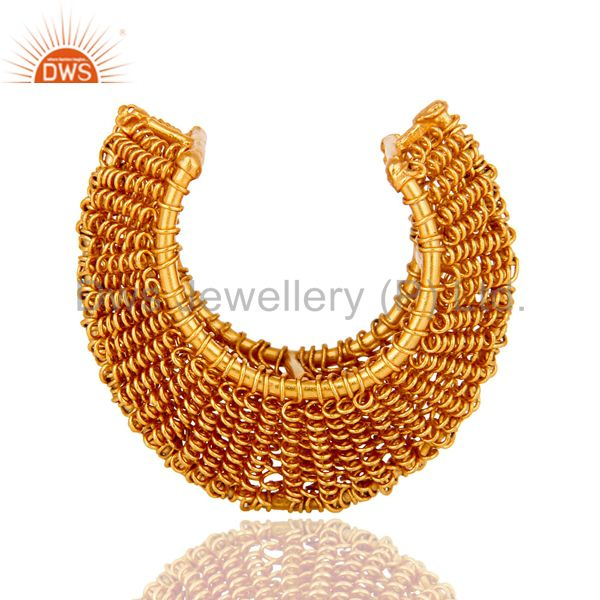 18K Yellow Gold Plated Sterling Silver Wire Woven Half Circle Pendant