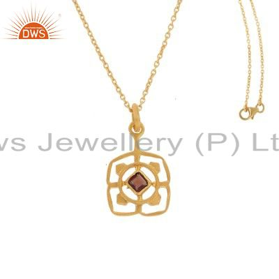 18K Yellow Gold Plated Sterling Silver Garnet Gemstone Pendant With Chain