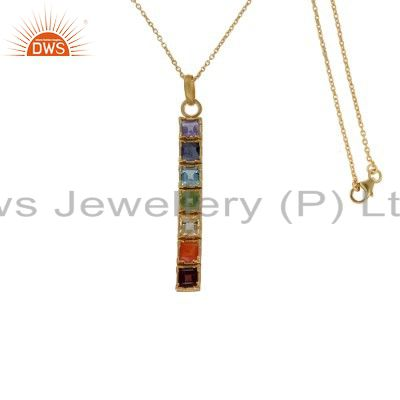 18K Yellow Gold Plated Sterling Silver Seven Chakra Gemstone Pendant With Chain