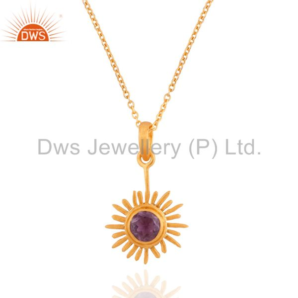 Indian artisan crafted sterling silver amethyst pendant sun symbol 18k gold verm