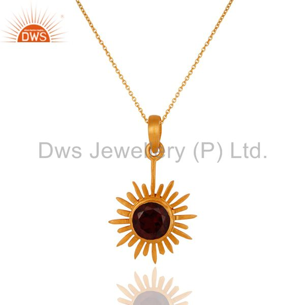 18K Yellow Gold Plated Sterling Silver Garnet Gemstone Sun Pendant With Chain