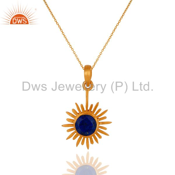 18K Gold Plated Sterling Silver Lapis Lazuli Gemstone Sun Pendant With Chain