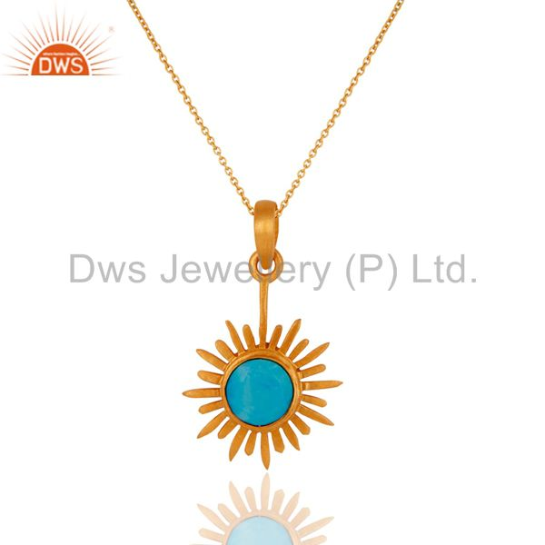 18k gold plated sterling silver matrix turquoise gemstone unique sun pendant