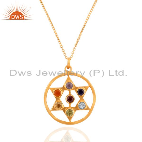 "925 Sterling Silver Seven Chakra Gemstone Gold Plated Pendant 17"" Chain Necklac"