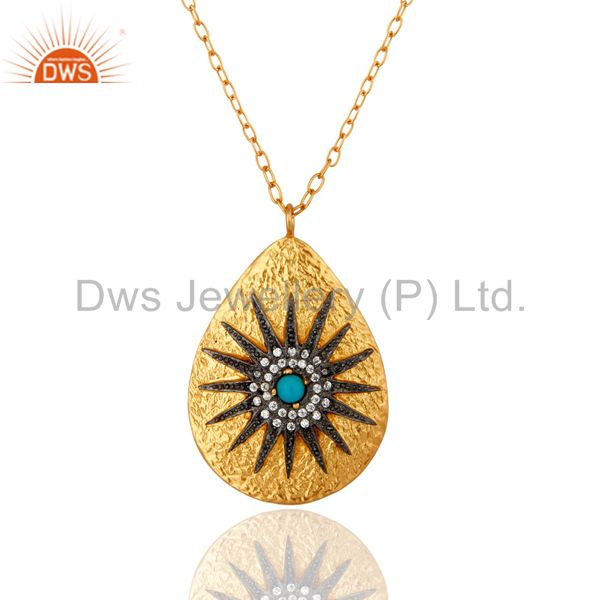 18k yellow gold plated turquoise and cz antique look pendant with chain