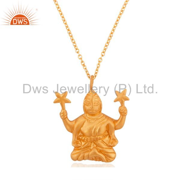 Hindu Religious Goddess Laxmi ji Crafted 18k Gold Over Sterling Silver Pendant 1