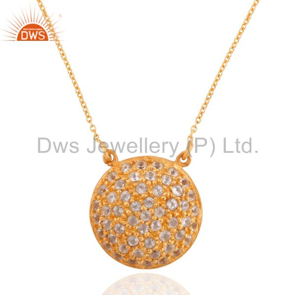 24k yellow gold plate cubic zirconia 925 sterling silver circle pendant