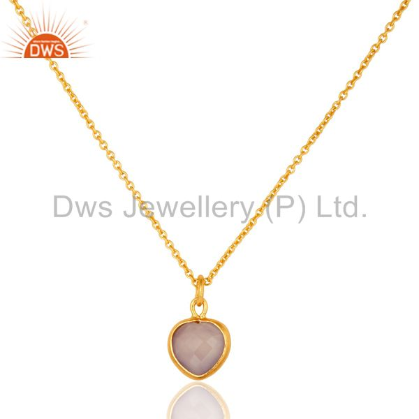18K Yellow Gold Over Sterling Silver Rose Chalcedony Gemstone Pendant Necklace