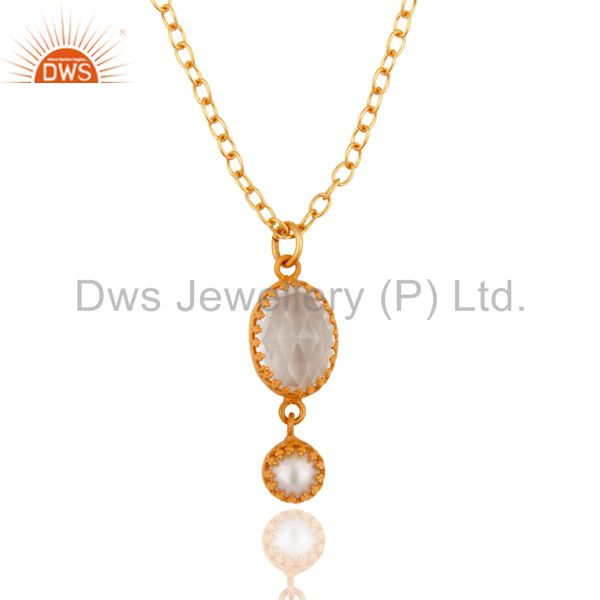 "18K Yellow Gold Plated Crystal Quartz And Pearl Pendant With 16"" Inch Chain"