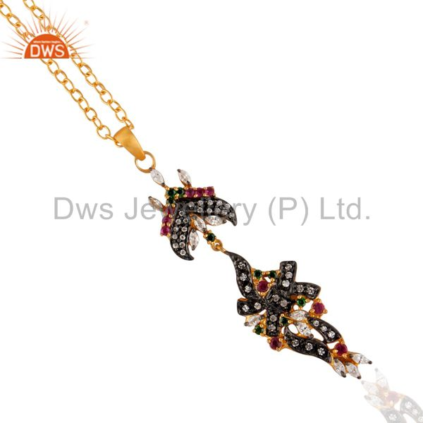 Excellent Designer Multicolored zircon 18k Gold Plated Chain Pendant & Necklace