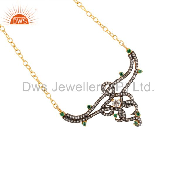 "Exquisite clear zircon green cz 16 ""inch pendant with chain 18k gold plated necklace"