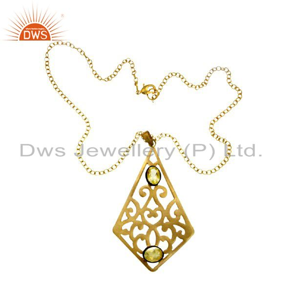 Handmade 18K Yellow Gold Plated Brass Citrine Gemstone Designer Pendant