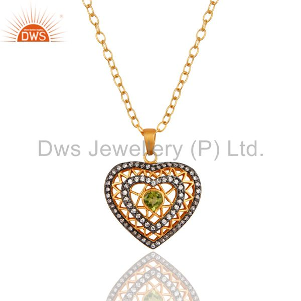 18K Yellow Gold Plated Natural Peridot And CZ Heart Pendant With Necklace