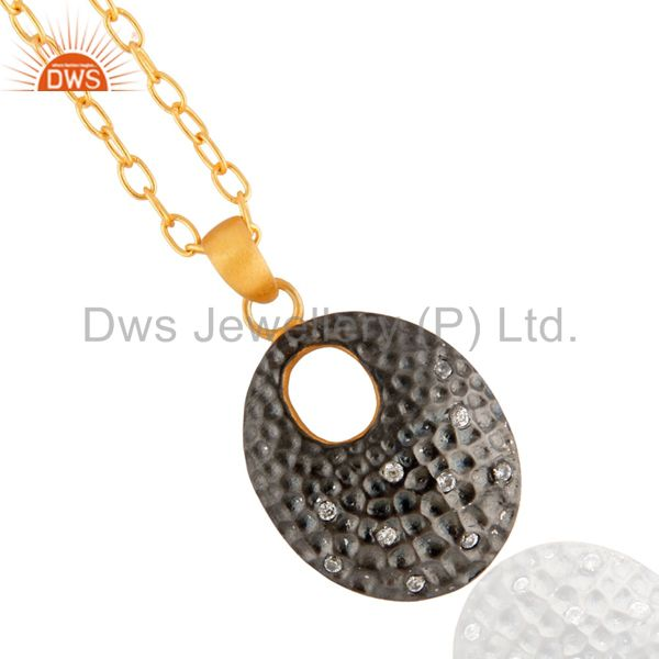 Exquisite hand made white zircon hammered pendant in 18k yellow gold plated chain