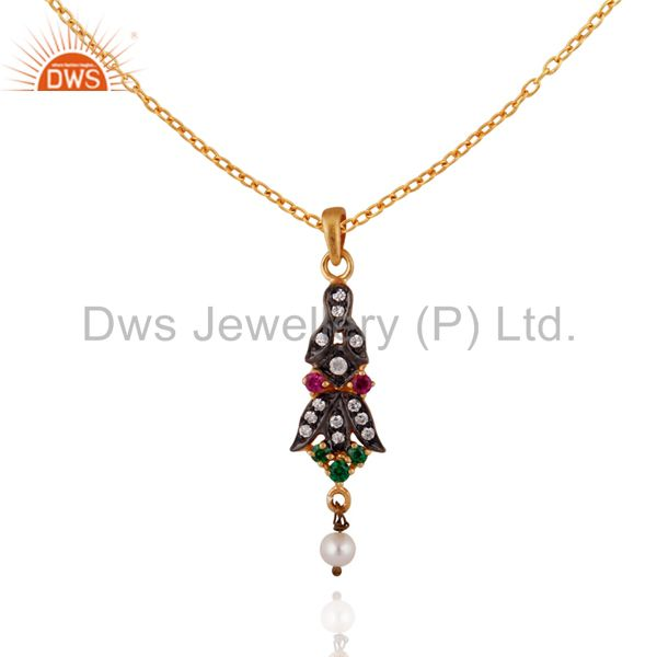 """18k yellow gold plated cubic zirconia pendant 16"""" inch chain necklace"""