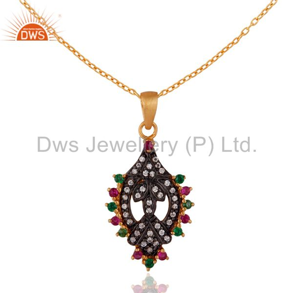 """18ct yellow gold plated colored cubic zirconia designer pendant 16"""" necklace"""