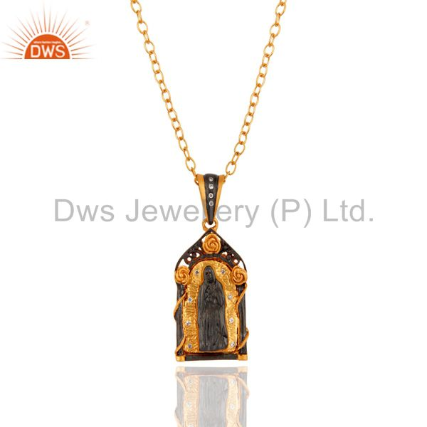 18k yellow gold over brass white cubic zirconia jesus pendant with chain