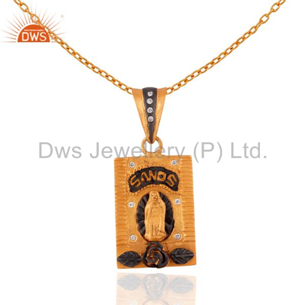 18K Yellow Gold Plated White Cubic Zirconia Religious Pendant With Curb Chain
