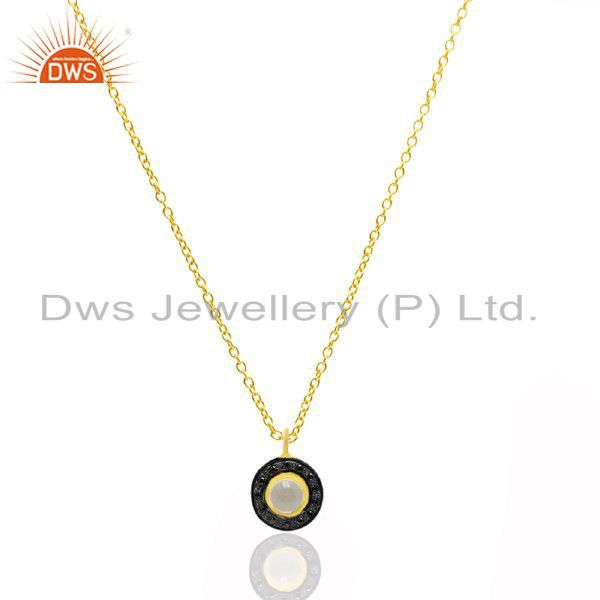 18K Yellow Gold Plated Sterling Silver Crystal Quartz And Black CZ Pendant Chain